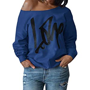 96a075079 Womens Plus Size Off Shoulder Pullover Sweatshirt Love Wifey Letter Printed  Tops Shirts