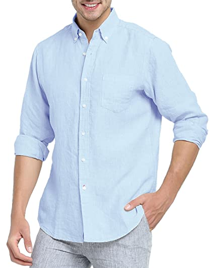 8d37f1e5556f6 Najia Symbol Men s 100% Linen Fabric Button Down Long Sleeve Casual Shirt  (Blue