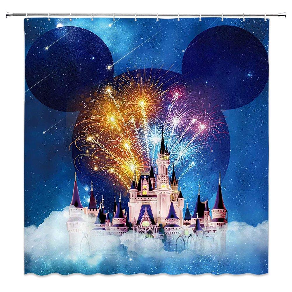 Feierman Dream Colorful Castle Shower Curtain Decor Fairy Tale World Kid's Bathroom Curtain Decor Machine Washable Mildew Resistant Fabric Bathroom Decor Set with Hooks 70x70Inches