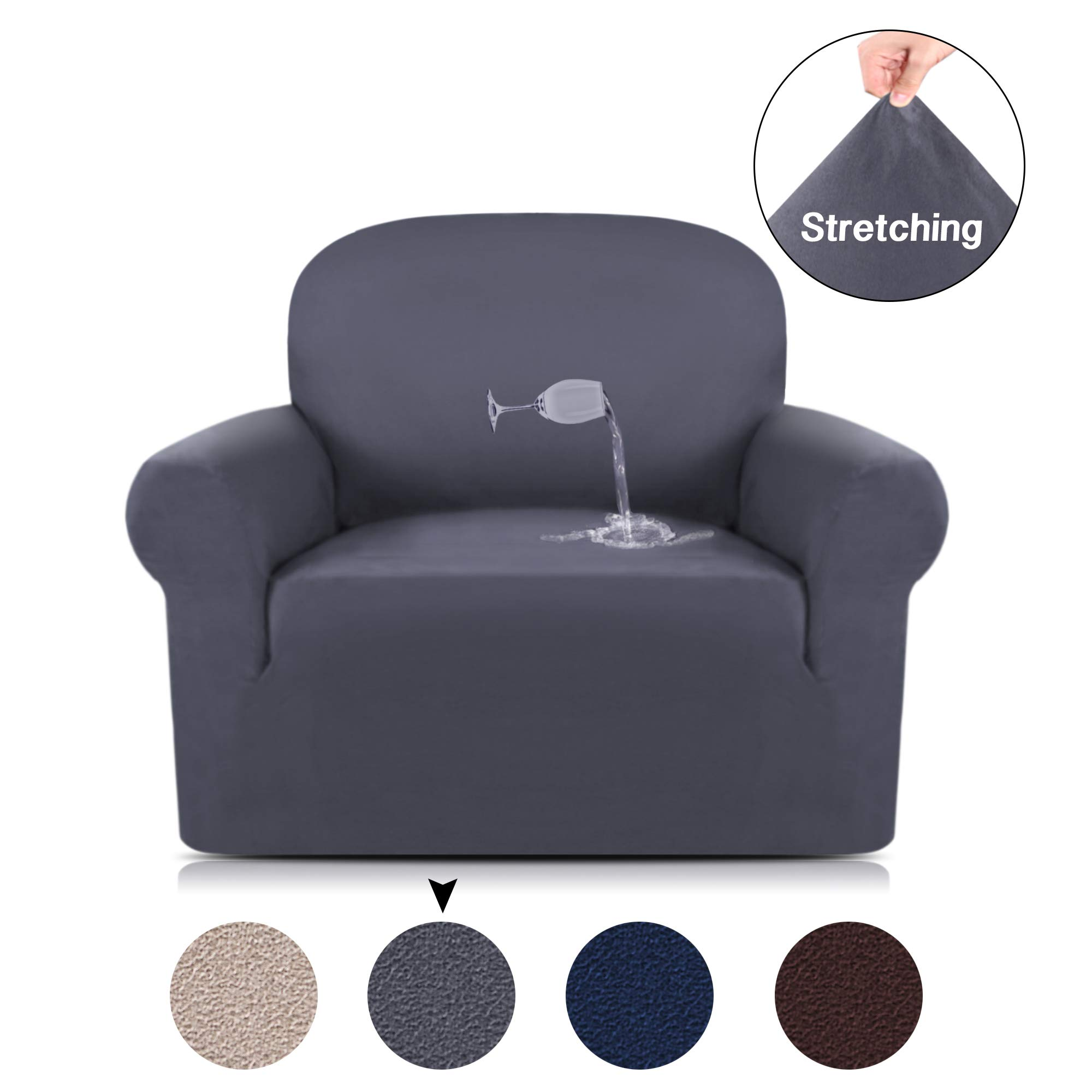 Turquoize Anti-Slip Suede Sofa Cover 1-Piece Spandex Stretch Chair Cover Water Repellent Elastic Pet Dog Sofa Couch Cover Slipcover Arm-Chair Furniture Protector Shield (Chair,Grey)