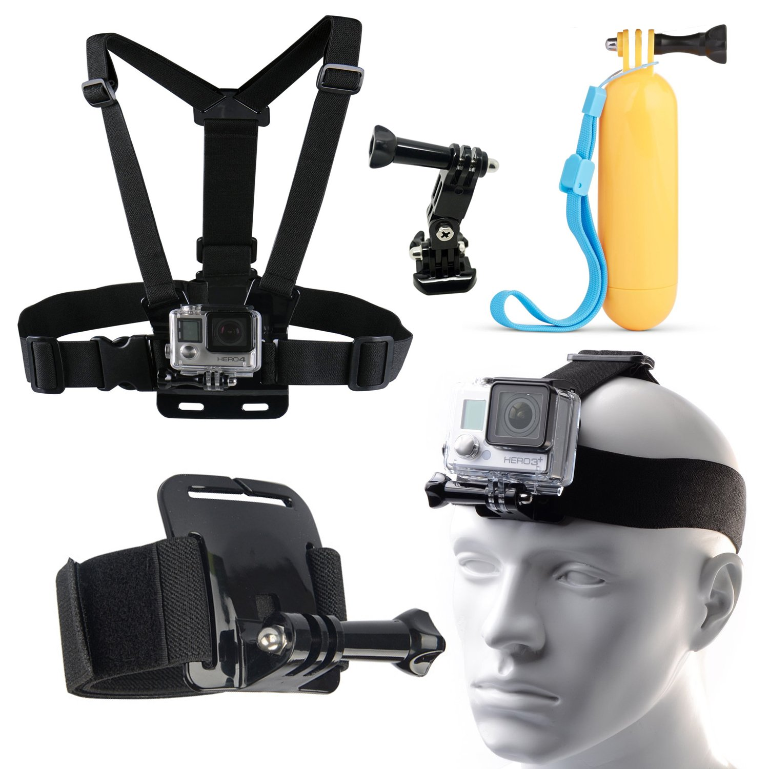 8-in-1 Body Set of Head Chest Wrist Mount Monopod Accessories Kit Bundle for GoPro Hero 4 3 3+ 2 Plus Session