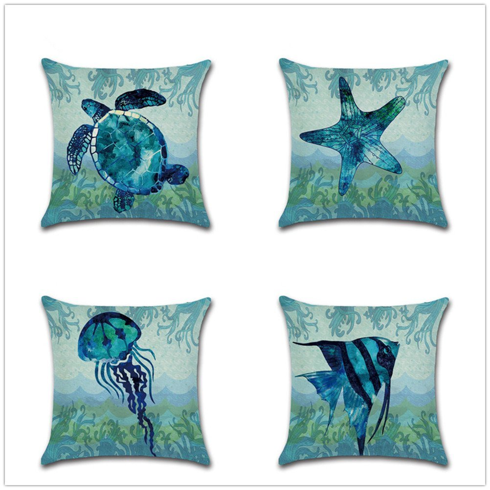 """Decorative Set of 4 Animal Theme Throw Pillow Cover Cotton Linen Cushion Covers Without pillow 18"""" x 18"""" 45cm x 45cm-Starfish"""
