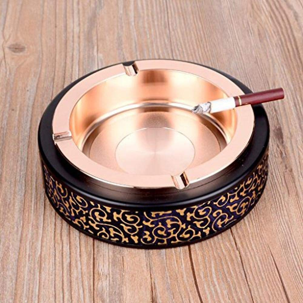 YouNB Ashtray Worth Having Creative  Smoke Cup Zinc Alloy Leather Internet Cafes Home Conference (15 4 * 15 4 * 4 6cm) (Color : B)-B by YouNB