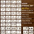 Stencils Letter and Number for Painting on Wood Stencils Large Alphabet Signs Calligraphy Font Upper and Lowercase Stencils for Art and Craft,Signage, Bistro, Drawing (40Pcs)