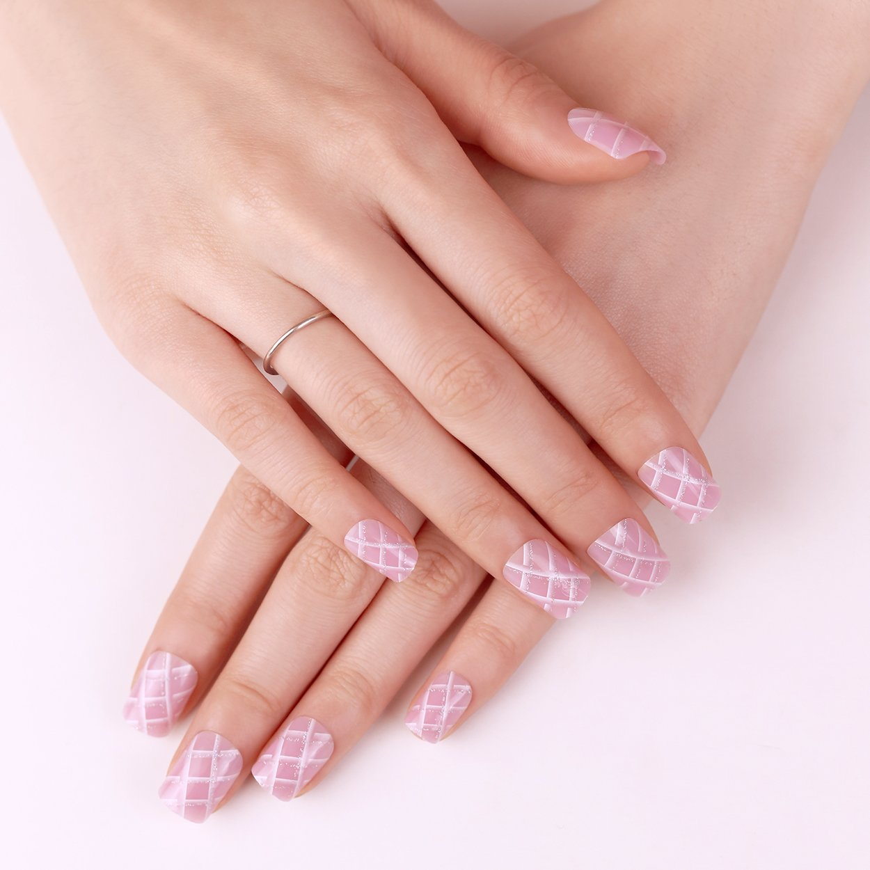 ARTPLUS Kit de uñas postizas media funda de Full con pegamento 24pcs Rosa Criss Cross falsas uñas: Amazon.es: Belleza