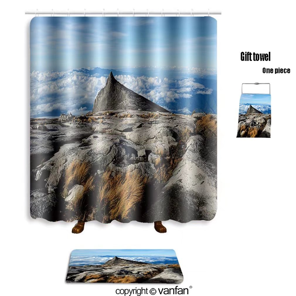 vanfan bath sets with Polyester rugs and shower curtain kinabalu mountain in kinabalu national park k shower curtains sets bathroom 69 x 75 inches&31.5 x 19.7 inches(Free 1 towel and 12 hooks)