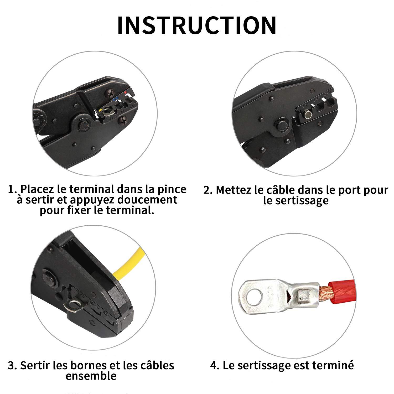 electrapick 110 Pcs Cosses /Électrique Trou boulon en Cuivre /Étam/é Connecteurs SC /à sertir//souder pour c/âble de 10m㎡ 16m㎡ 25m㎡ 35m㎡ 50m㎡ 70m㎡