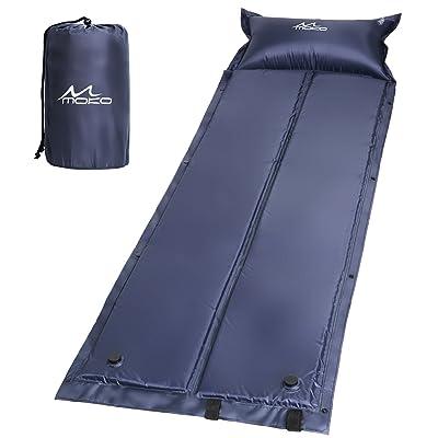 MoKo Coussin de couchage autogonflable pliable extérieur, gonflable manuel léger de pression de matelas d'air portatif pour le camping extérieur, la randonnée, le trekking et les activités d