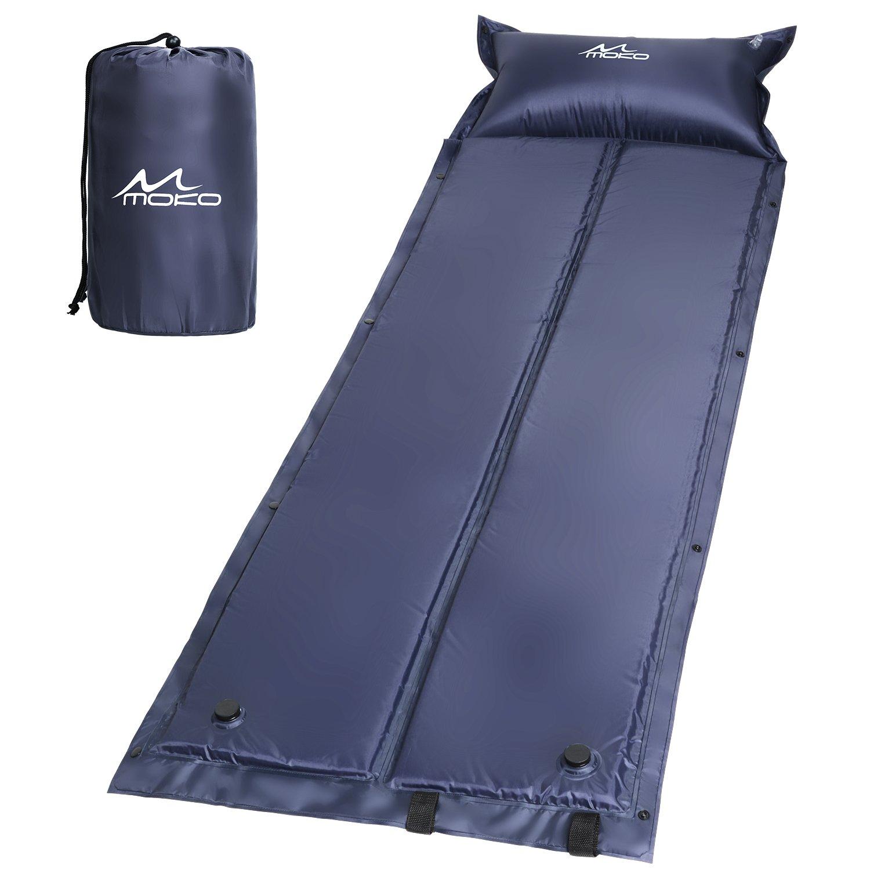 MoKoアウトドア折りたたみ式デフクラブパッドSleeping Pad、軽量ポータブル手動圧力エアマットレスインフレのアウトドアキャンプ、ハイキング、トレッキング、バックパッキング、水アクティビティ B075YVWGVC  ブルー