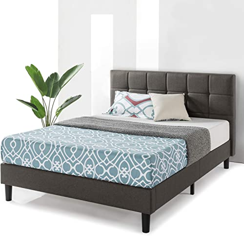Best Price Mattress King Bed Frame Zoe Upholstered Platform Beds with Tufted Headboard and Wooden Slats Support No Box Spring Needed , King