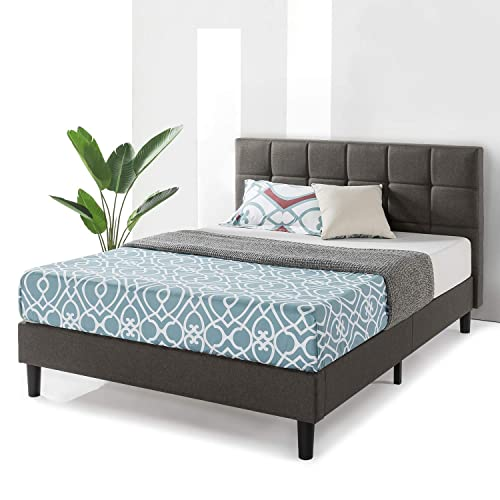 Best Price Mattress Queen Frame Zoe Upholstered Platform Beds with Tufted Headboard and Wooden Slats Support No Box Spring Needed , Size, Gray