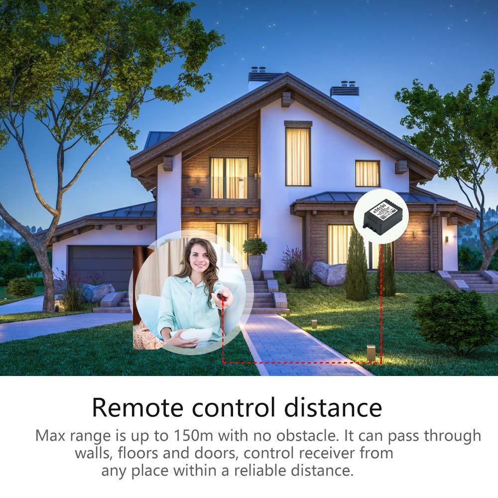 eMylo Interruptor de control remoto inal/ámbrico RF Rel/é remoto de largo alcance AC 220V-230V-240V 1000W Rel/é inteligente de RF de 6 x 1 canales 2 transmisor y 6 receptor