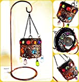 Original Moroccan Single Hanging Bejewelled Tealight Candle Holder With Bronze Metal Stand