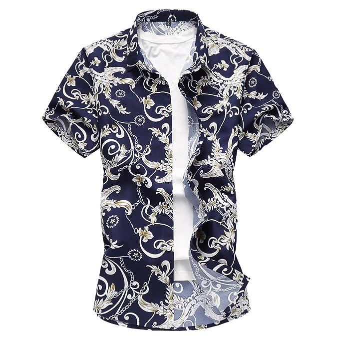timeless design e9d69 4b46c Zhiyuanan Camicie A Maniche Corte Stampate A Fiori da Uomo ...