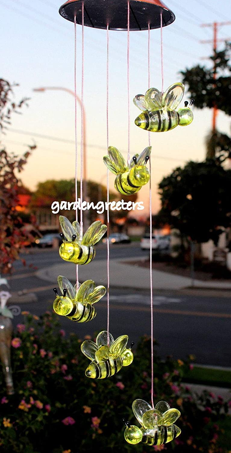 SOLAR BUMBLE BEE MOBILE WINDCHIMES by Gardengreeters   B00IGKMXII