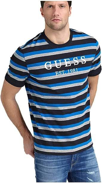 Guess Camiseta Rayas Logo Frontal S: Amazon.es: Ropa y accesorios
