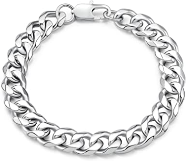 Birthday Gift For Boyfriend,Cuban Chain, 925 Sterling Silver Figaro Chain Bracelet For Mens Jewelry Gift For Him,Silver Chain Bracelet Men