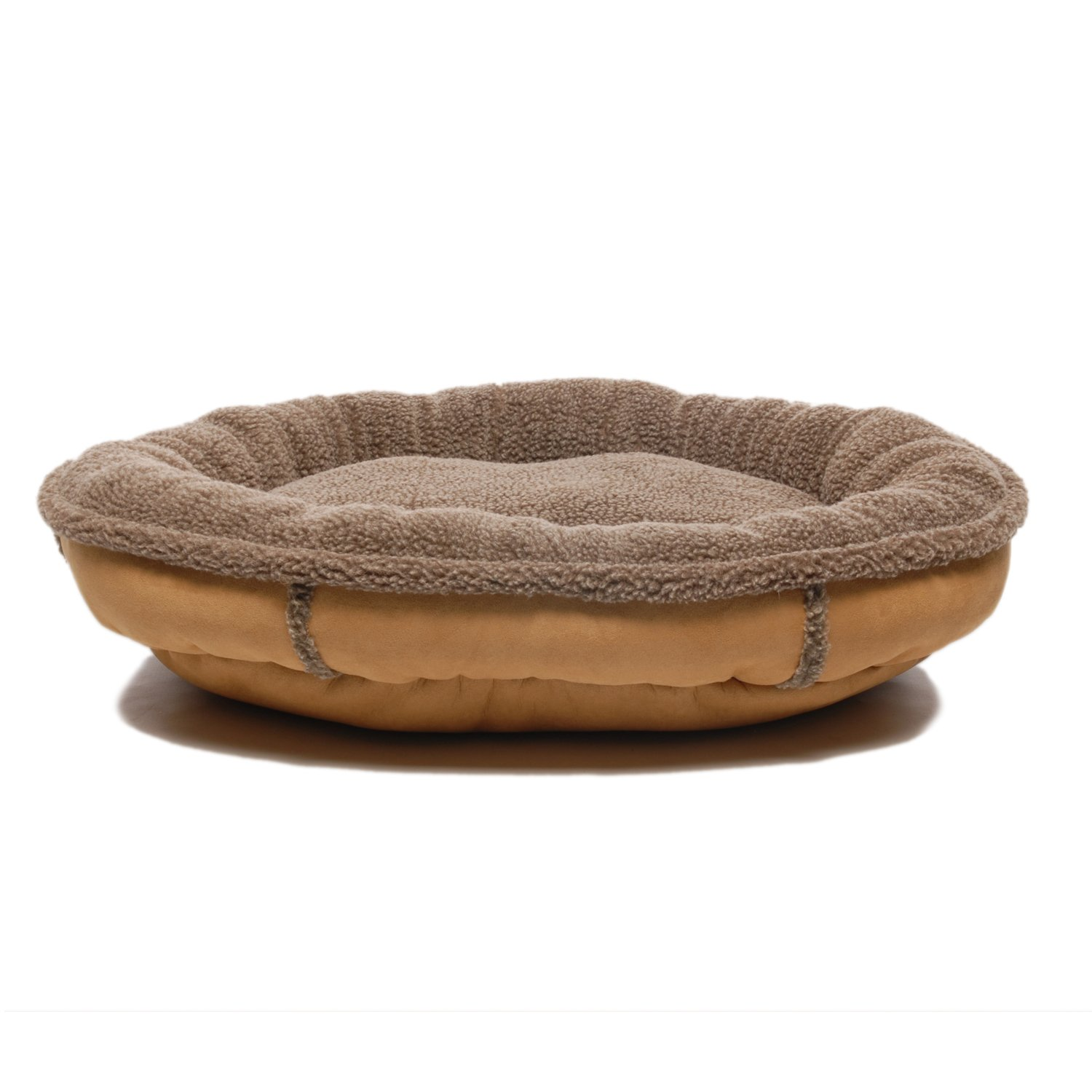 CPC Faux Suede & Tipped Berber 27-inch Round Comfy Cup, Caramel