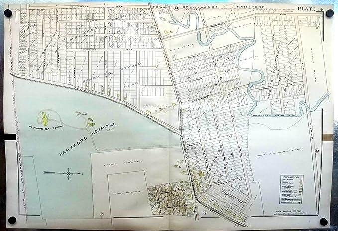 1909 Hartford CT Map: Hospital; Wildwood Sanitorium ...