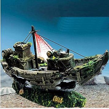 Acuario Decoración - Barco pirata Acuario Paisaje Decoración Acuario Decoración barco Impuestos hinterziehung hogar decoración Hohlen Resina grandes pecio ...