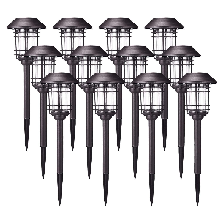 AZIRIER Solar Lights Outdoor Waterproof Security Lights Easy Install Garden Lights for Garden Path Walkway Light 12 Pack
