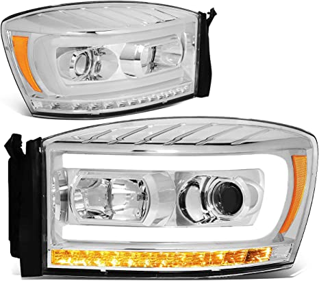 DNA Motoring HL-HPL-RM06-G-CH-AM Pair LED DRL+Sequential Chasing Turn Signal Projector Headlight