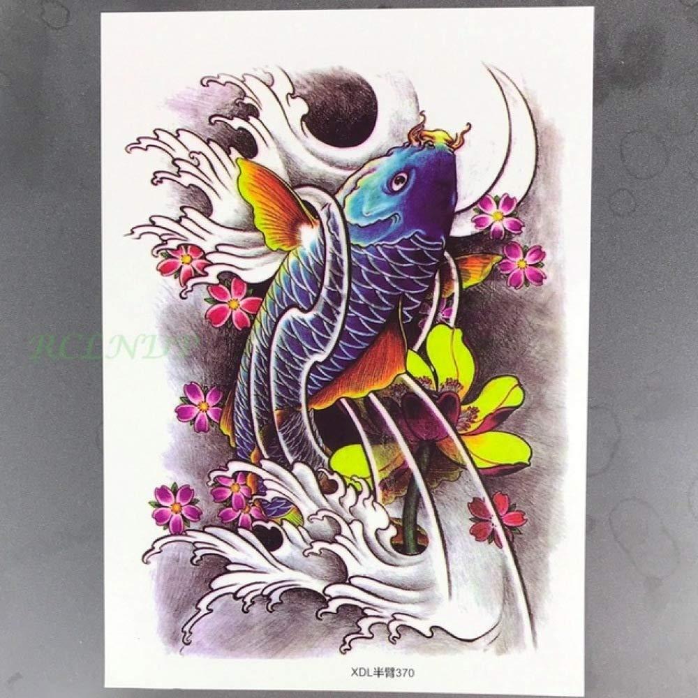 Handaxian 3pcs Ola Tatuaje de la Flor de Loto Peces de Colores ...