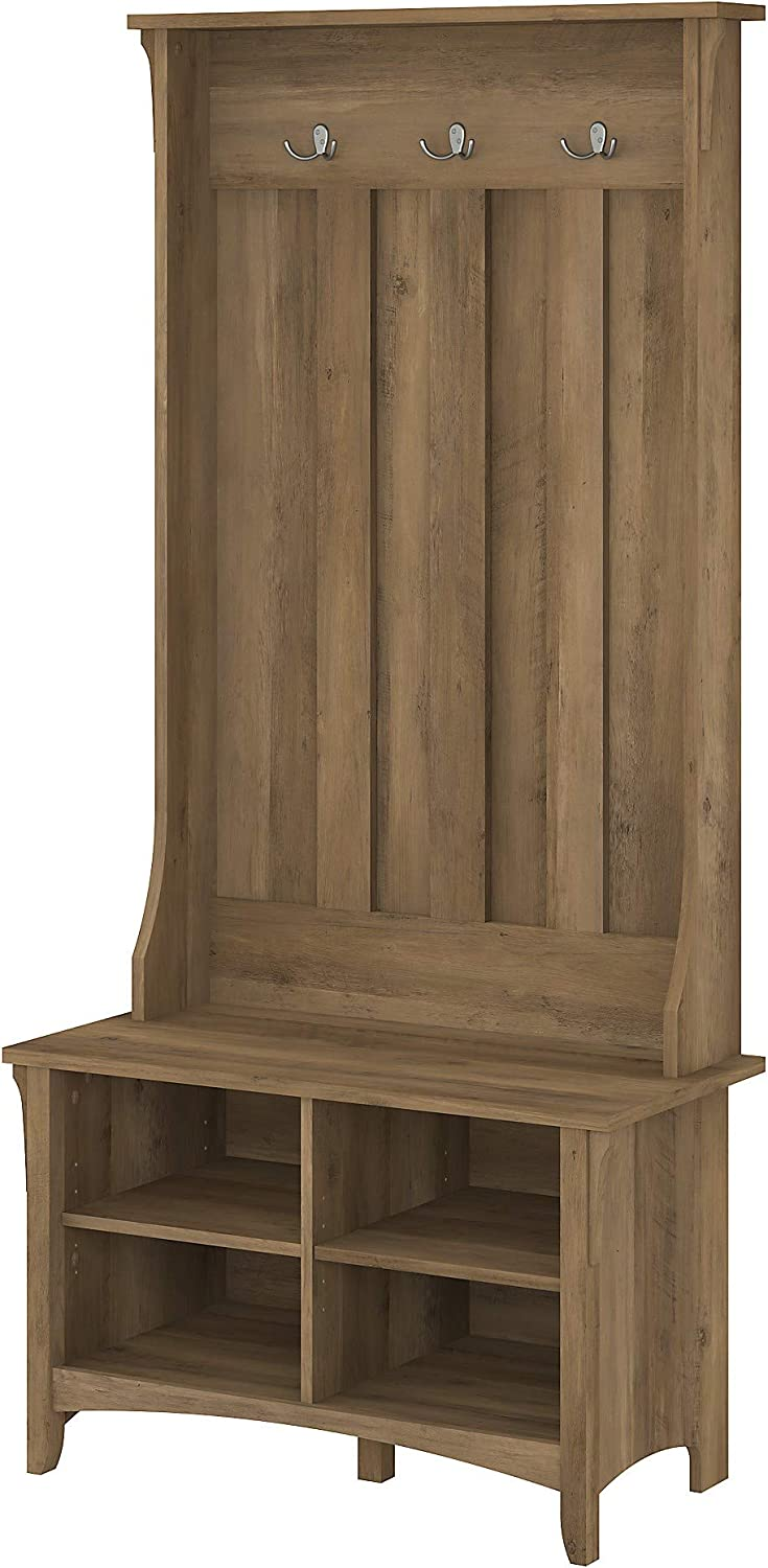 Bush Furniture Salinas Hall Tree with Shoe Storage Bench in Reclaimed Pine