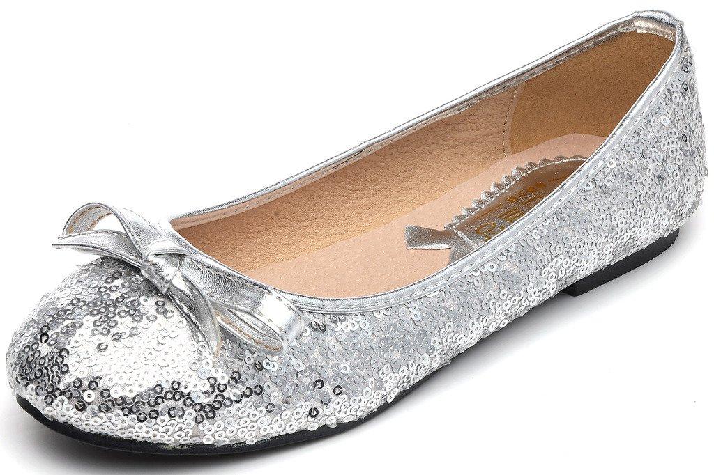 Odema Women Sequin Wedding Bridal Shoes Flat Single Party Dress Ballet Shoes