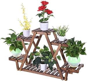 Wood Plant Stand, Triangular Plant Shelf, 6 Pots Flower Shelf Storage Rack Pot Racks, Multifunctional Display Shelf, Corner Plant Rack Shelf Holder, Garden Pation Corner Indoor Outdoor Decor