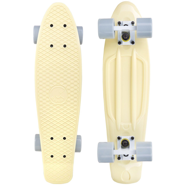 Cal 7 22 Inch Retro Style Mini Cruiser Complete Skateboard (Snowdrop)