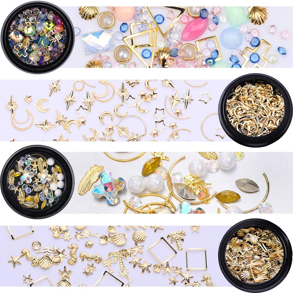 NICOLE DIARY Gold Nail Rivet Studs Glitter Crystal Rhinestones White Flat Bottom Leaf Star Moon Shell Charms Accessaries DIY 3D Nail Art Decoration (4 Boxes) by NICOLE DIARY