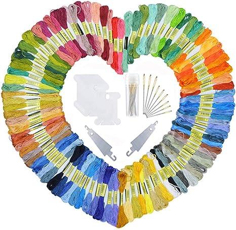 100 Floss AINIA Embroidery Floss Friendship Bracelets Floss Rainbow Color Embroidery Thread Cross Stitch Floss