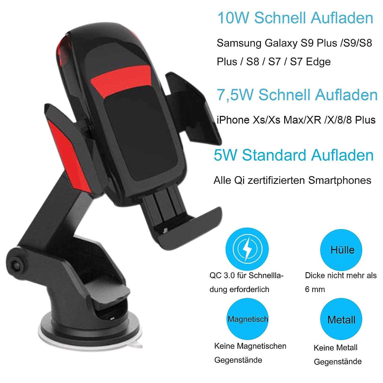 Dimi Wireless Charger Auto Qi Handyhalterung,Automatisch Motor Betrie Qi Ladeger/ät Auto 2 in 1 LED mit L/üftung /& Saugnapfshalter 10W kfz Induktiv Ladestation f/ür Samsung//iPhone und andere Qi F/ähige