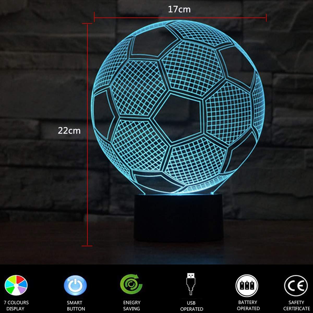 Lampara Escritorio Lampara 3D F/útbol LED L/ámpara de Mesa 7 Colores Diferentes Luz De Noche Regalos Cumplea/ños Ni/ños lunaoo Luz Nocturna Infantil