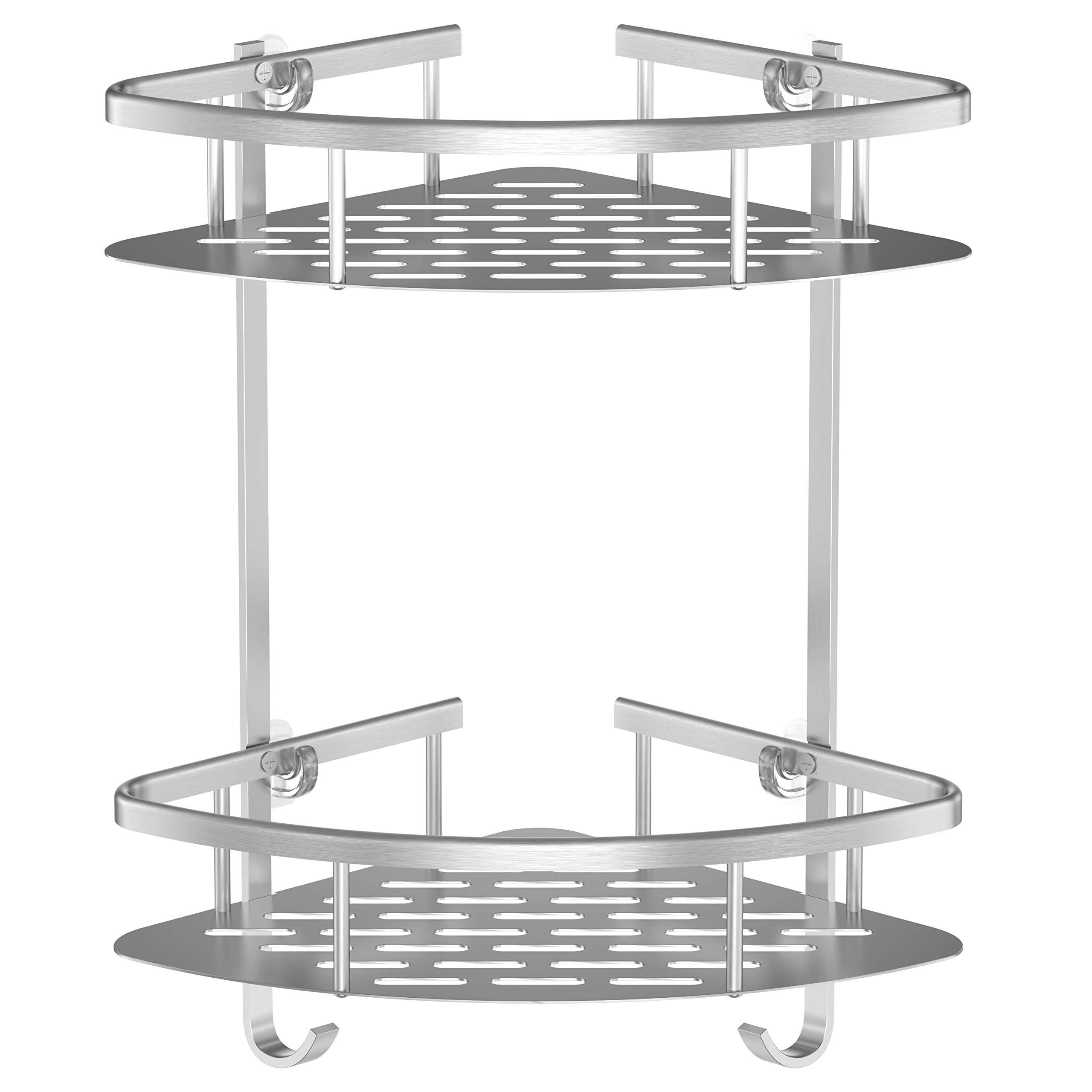 HONEYBULL Shower Shelf [No Drilling] 2 Corner Shelf Shower Caddy - Rustproof Aluminum