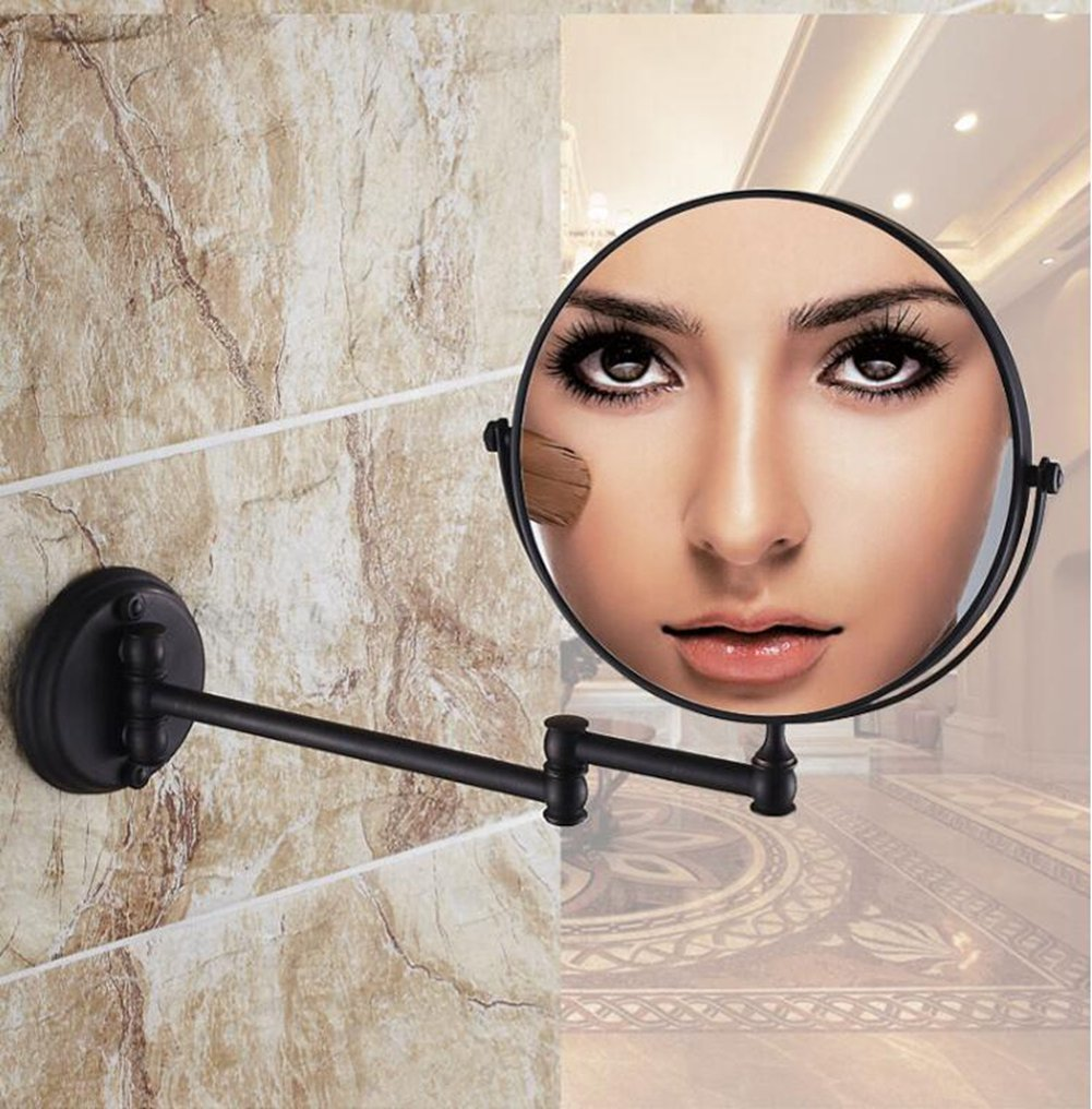 AUS Round 8 Inches Brass Bathroom Foldable Wall Mounted Double Side Makeup Mirror (Oil Robbed)