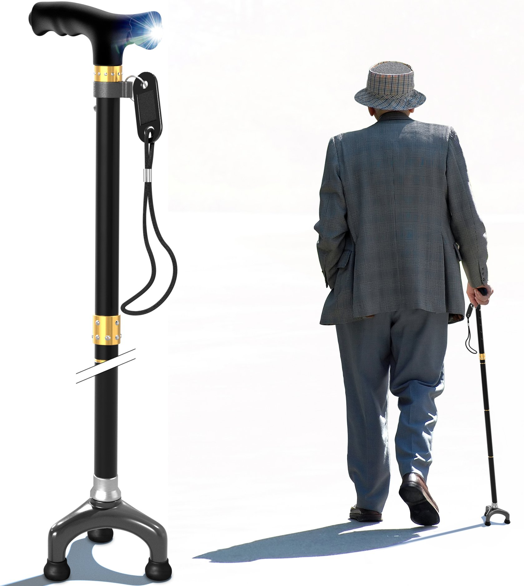 Bago Walking Cane for Men and Women - Folding Stick with Led Light and Pivot Base Tripod Tips - Travel with These Adjustable Canes and Walking Sticks - Pack Small, LightweightCollapsible (Black)