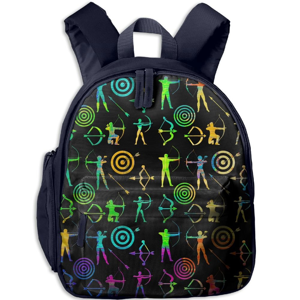 Colorful Bow And Arrow Archery Clipart Toddler Kids Backpack Preschool Backpack Navy Mini Backpack by Vorav