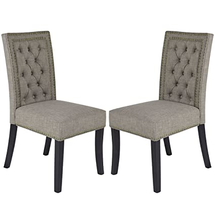 Giantex Set of 2 Button-tufted Upholstered Fabric Dining Chairs w/Nailhead  Home Kitchen Furniture