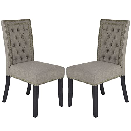 Giantex Set of 2 Button-Tufted Upholstered Fabric Dining Chairs w Nailhead Home Kitchen Furniture