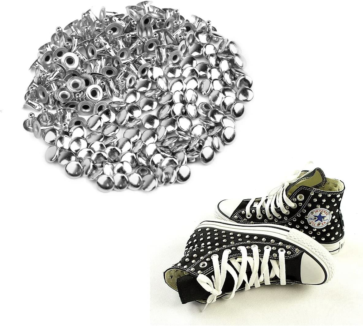 / Ultnice M/étal rivets DIY Punk Artisanat du cuir Chaussures Sac Bracelet Rapid Clous Rivets 6/mm Argent /100/Pi/èces