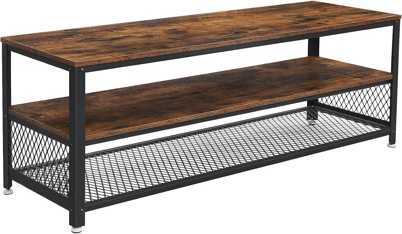 VASAGLE Industrial Soporte para TV, armario, consola, mesa de café con marco de metal, grano de madera, para sala de estar, dormitorio, marrón rústico ULTV50BX: Amazon.es: Juguetes y juegos