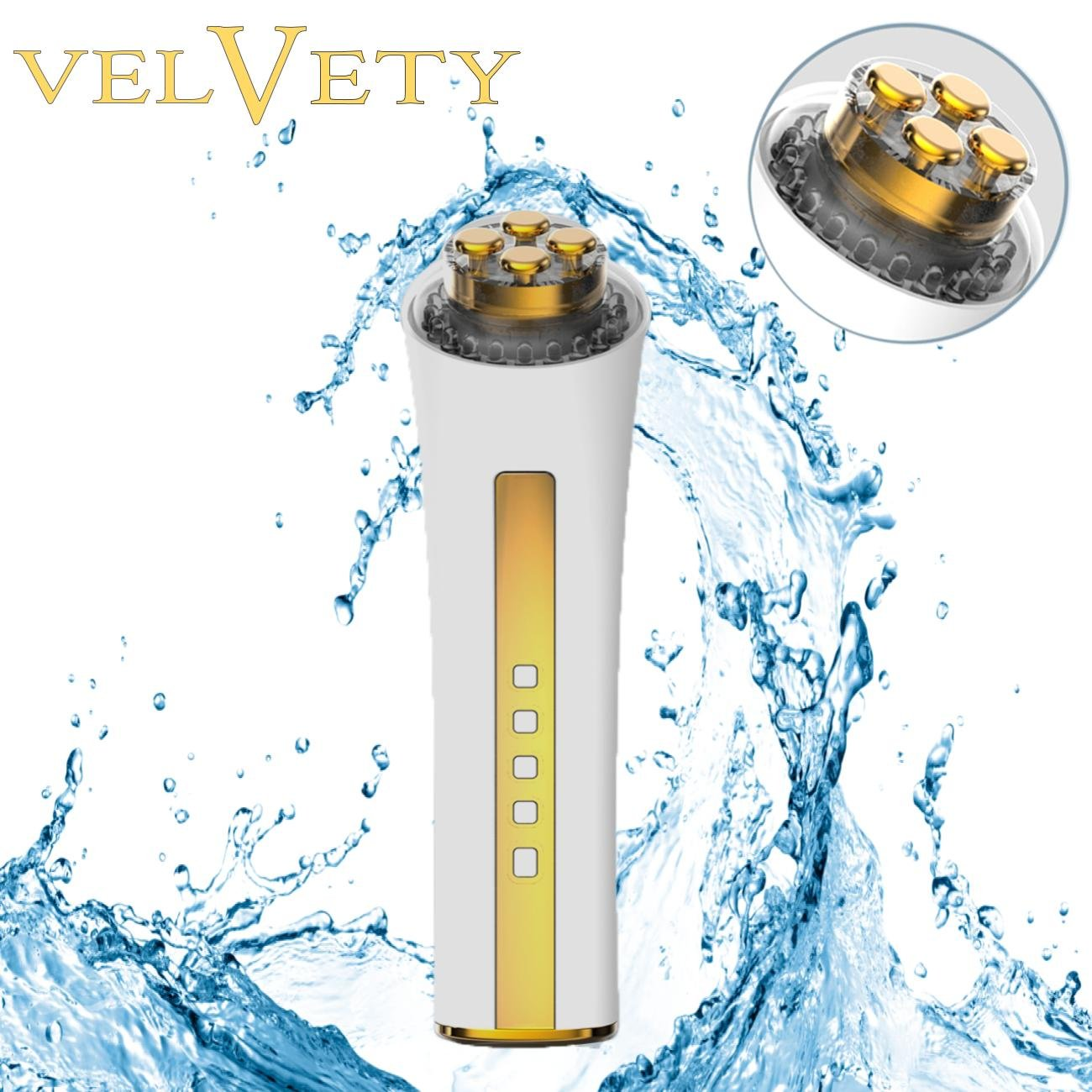 VELVETY Face Revolution 3 in 1 LED Skin Care Device Remove Wrinkles Acne & Blackheads LED Red Blue Yellow Massages Operator By Haleness Pro !