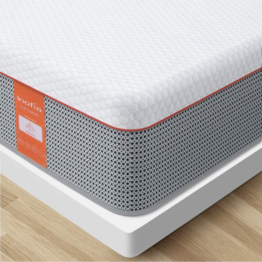 Twin Mattress, Inofia Twin Size Gel Memory Foam Hybrid Mattress, 10 Inch Individual Pocket Spring Single Mattress, Bed in a Box, Stronger Edge Support, More Pressure Relief, Twin