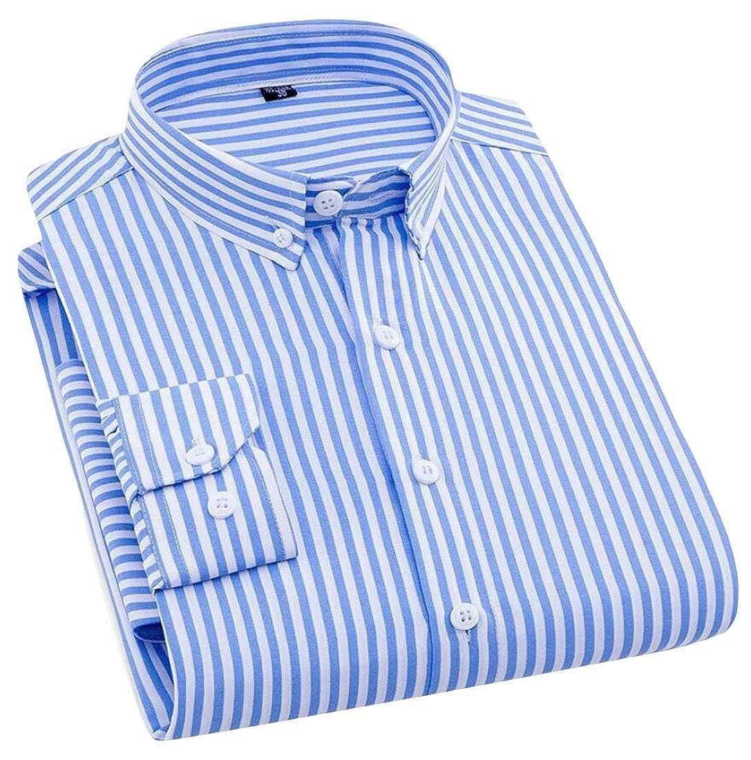 Mens Button Down Shirt Slim Fit Long Sleeve Dress Shirt Tops