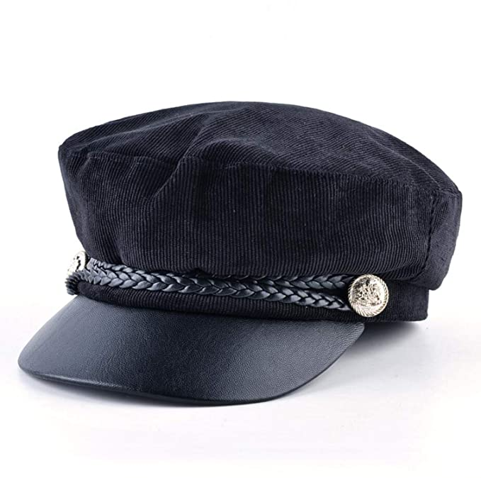 fe53007c815 UKURO Women Corduroy Military Cap Spring Autumn Newsboy Twist Braiding  Button Flat Beret Hat PU Visor