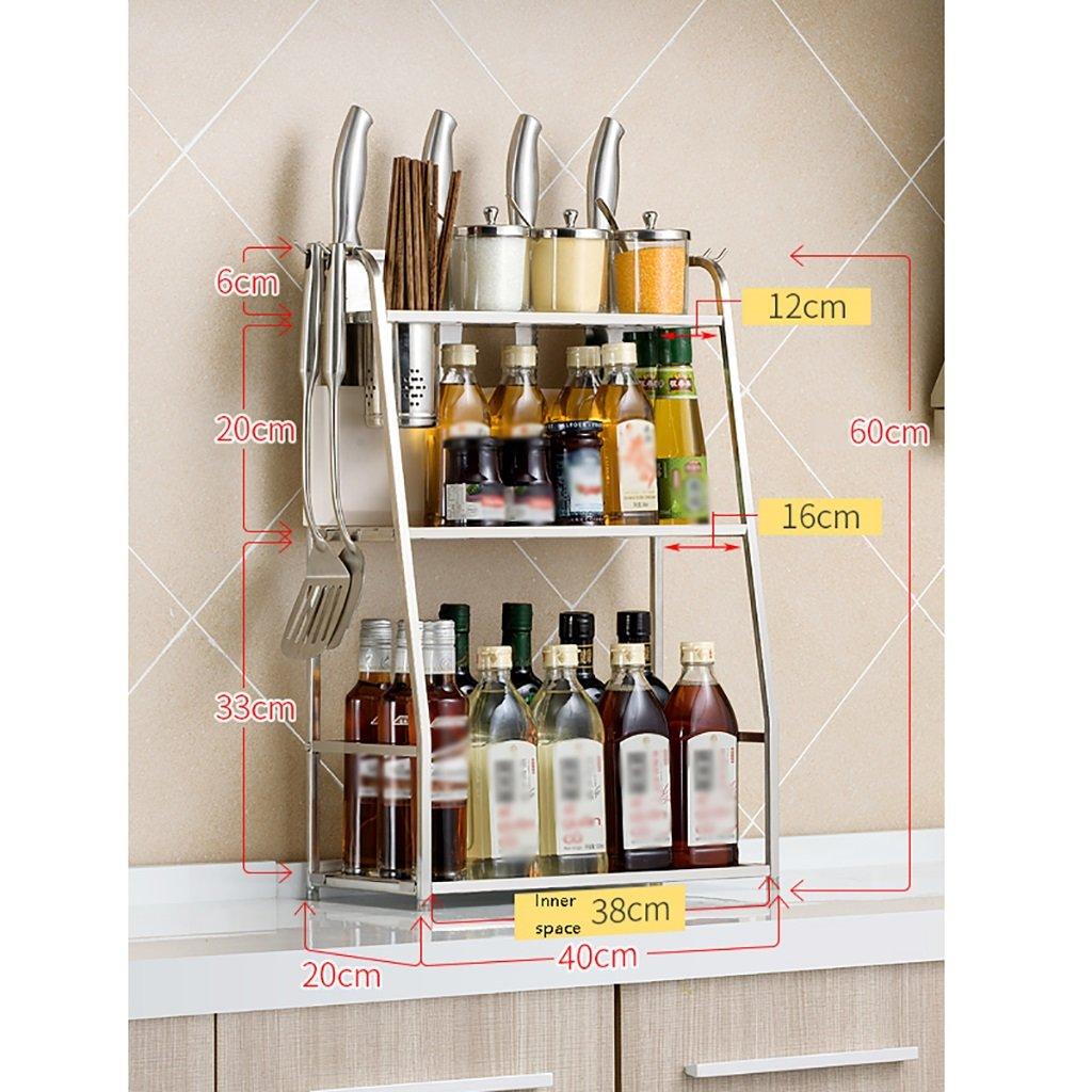 LXLA- Utensili da cucina Scaffali Condimento Cremagliera Tagliere Spice Ripostiglio Multifunzione Strati multistrato a 3 strati Acciaio inossidabile a tre piani (disponibile 40/50 * 20 * 60 Cm) ( dimensioni : 40 cm )