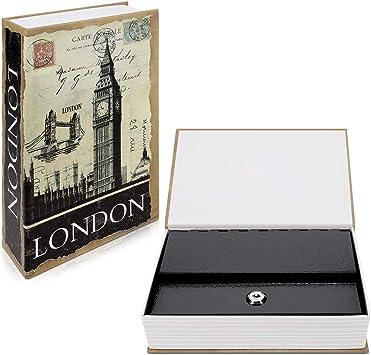 Navaris Caja fuerte con forma de libro - Caja de caudales escondida para guardar dinero joyas relojes - Con diseño de Londres y 2 llaves - M: Amazon.es: Bricolaje y herramientas