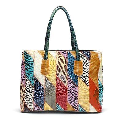 4d7c413e7b Amazon.com  Women Gorgeous Colorful Patchwork Tote Designer Multicolor Shoulder  Bag Handmade Large Handbags-Sibalasi  Shoes
